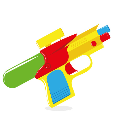 water gun: Vector Cartoon Water Gun Isolated On White Background