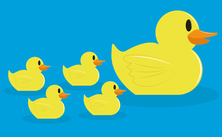 Vector Group Of Adorable Cartoon Ducks Isolated  Vector