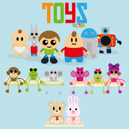 Vector Set Of Different Cartoon Toys Isolated  Vector