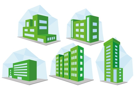 company building: Vector Set Of Different Building Icons Isolated
