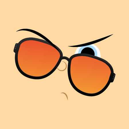 Vector Funny Cartoon Character Face Illustration