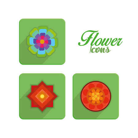 Vector Set Of Stylish Colorful Flowers Icons Isolated  Vector