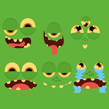Vector Set Of Different Cartoon Faces Isolated Vector