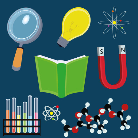 Vector Different Cartoon Education/Science Elements Isolated Vector