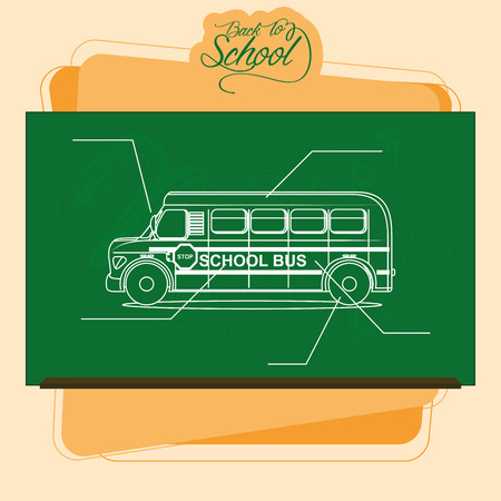 Vector Chalkboard With A Drawing Of A School Bus Vector