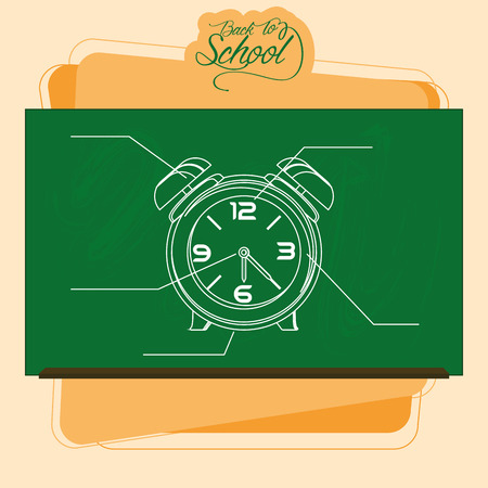 clack: Vector Chalkboard With A Drawing Of A Alarm Clock
