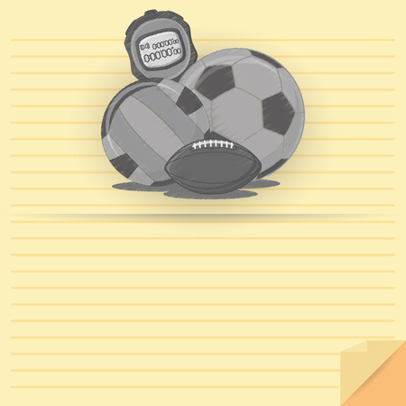 Vector Different Balls And Stopwatch With Space For Text  Vector