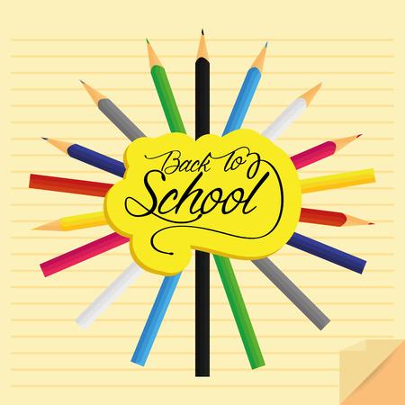 jardin de infantes: Vector conjunto de diferentes lápices de colores con estilo de dibujos animados