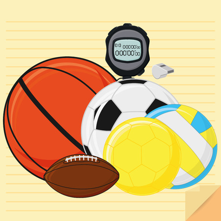 Vector Set Of Stylish Cartoon Different Sports Related Elements Vector