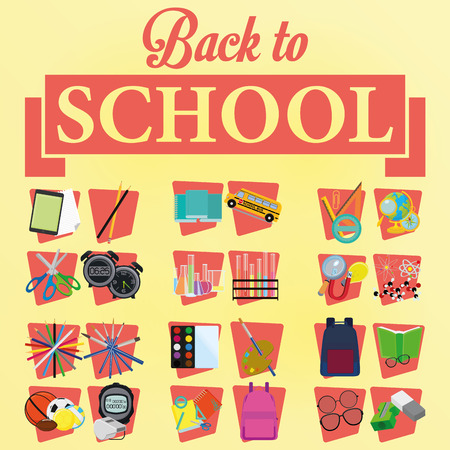 Vector Set Of Stylish Cartoon Different School Related Elements Vector