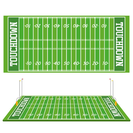 Vector Football Field  Isolated On White Background Illustration