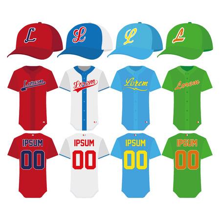 uniforme: Elementos de b�isbol aislado en el fondo blanco Vectores