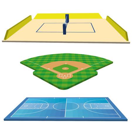 campo de beisbol: Different Sports Campos conjunto aislado sobre fondo blanco