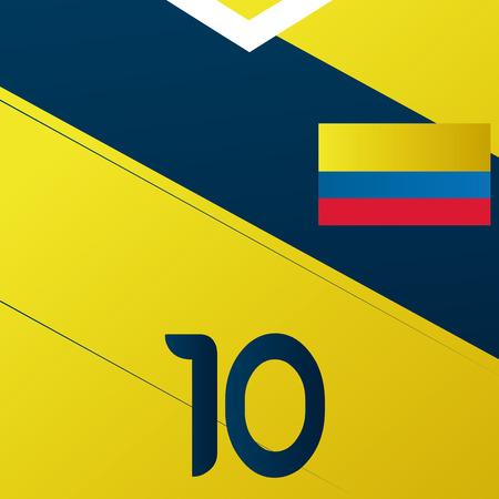 Colombia Soccer Uniform Illustration Editable Vector Illustration