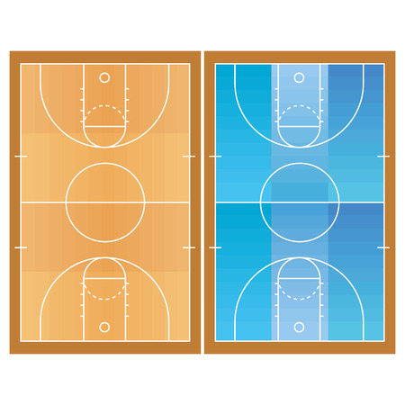 Basketball Field  Isolated On White Background Vector