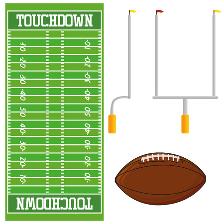 Football Field  Isolated On White Background Vectores
