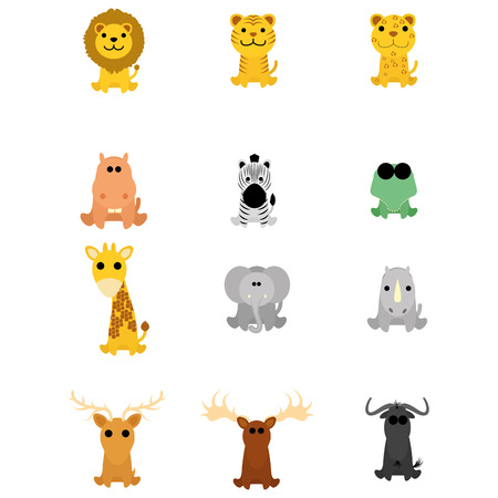 leopard gecko: Set Of Different Cartoon Adorable Animals Isolated