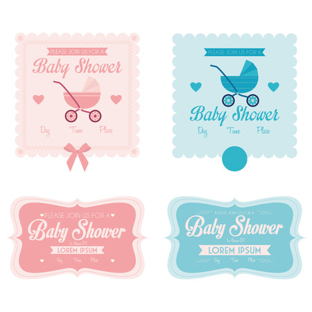 Baby Shower Template Cards Illustration Editable Vector