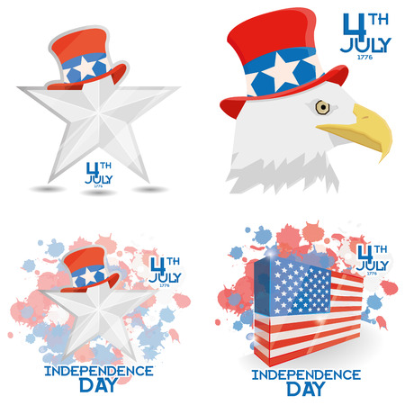 Set Of American Independence Day Background Templates Editable Vector