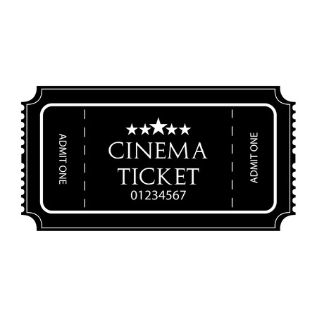 Black And White Cinema Ticket Icon Isolated Vector