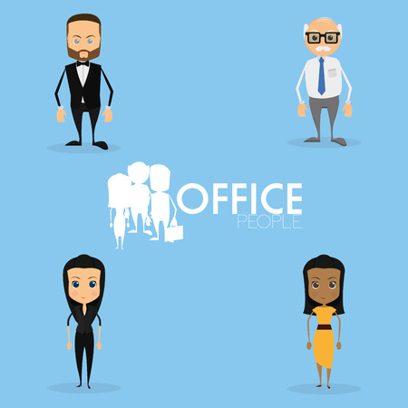 Set Of Funny Office Characters Isolated On Background Vector