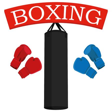 guantes boxeo: Sacos y guantes de boxeo Ilustraci�n Aislados En Fondo Blanco Vectores