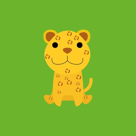 cartoon jaguar: Adorable Cartoon Jaguar Isolated On Background