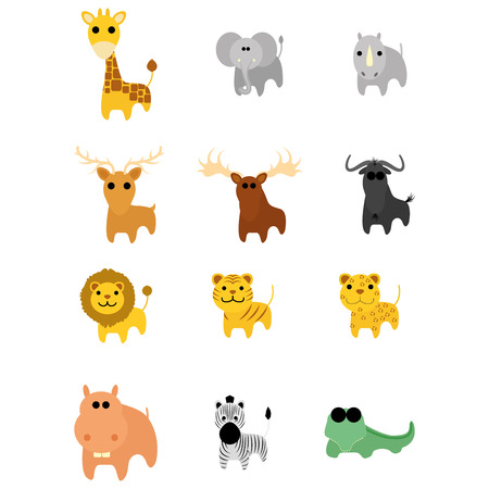 Set Of Different Cartoon Adorable Animals Isolated Vector