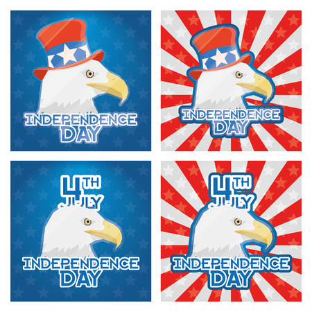 Set Of American Independence Day Background Vector