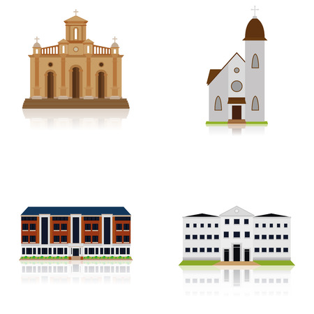church group: Set Of Different Building Illustrations Isolated  Illustration