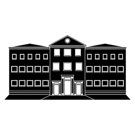 college building: Building Silhouette Isolated On White Background Illustration