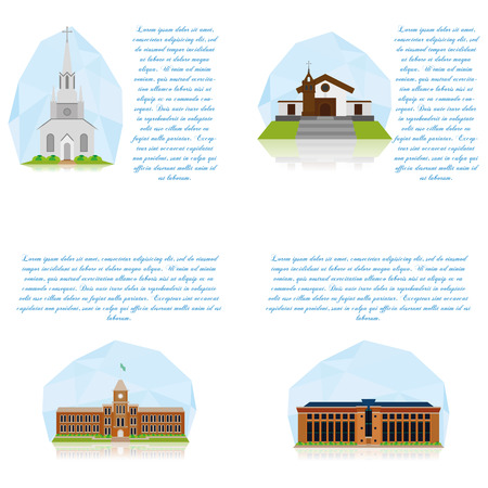 university building: Set Of Different Buildings Isolated On White Background