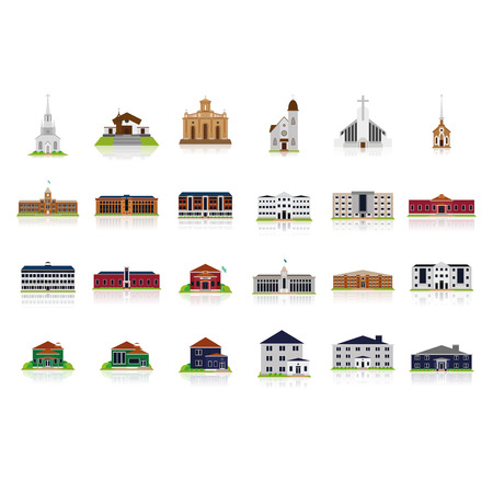 Set Of Different Buildings Isolated On White Background