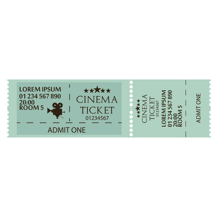 Cinema Ticket Icon Isolated On White Background Vettoriali