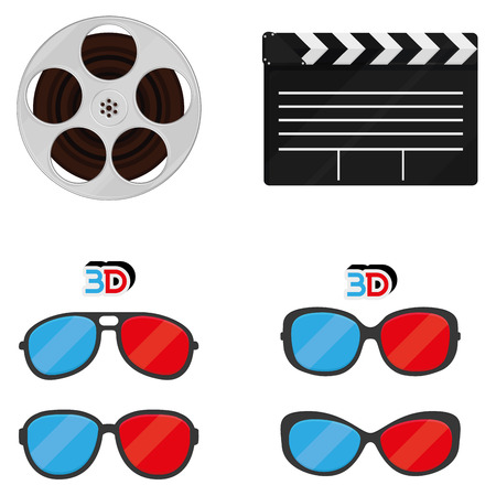 movie reel: Set Of Different Movie Related Icons Isolated