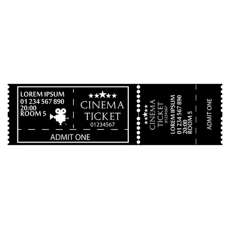 movie ticket: Black And White Cinema Ticket Icon Isolated Illustration