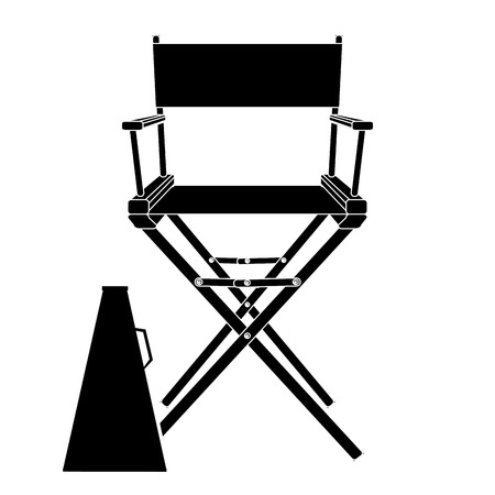 director chair: Black And White Director Chair Icon Isolated