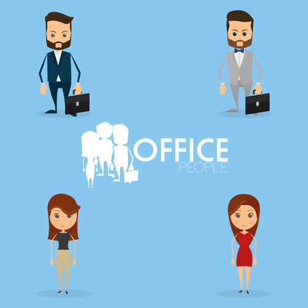 button down shirt: Set Of Funny Office Characters Isolated On Background