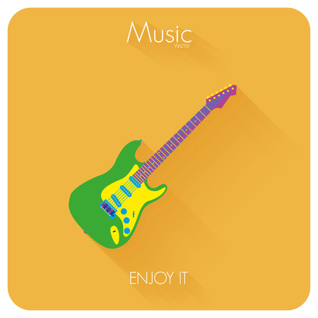 electric guitar: Abstract Colorful Electric Guitar Isolated On Color Background