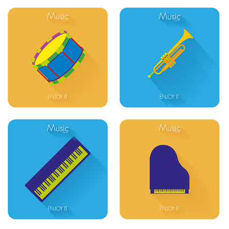 Set Of Different Colorful Musical Elements Vector