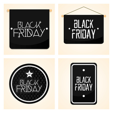 Vector Set Different Black Friday Stickers Isolated Vector
