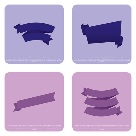 Vector Set Of Different Stylish Ribbons Isolated On Color Background Vector