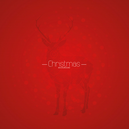 line pattern: a red christmas card with a reindeer and some text Illustration