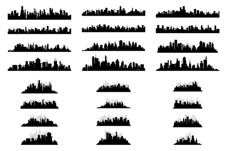 a set of black silhouettes of cityscapes on a white background Illustration