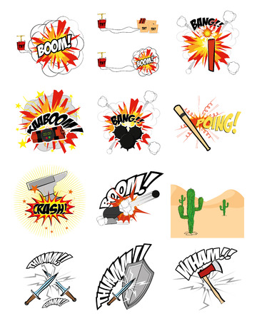 onomatopoeia: a set of comic expressions on a white background