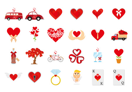 family van: a set of love related elements on a white background
