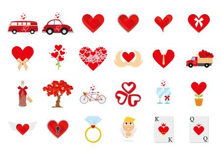 compromise: un conjunto de elementos relacionados con el amor sobre un fondo blanco Vectores