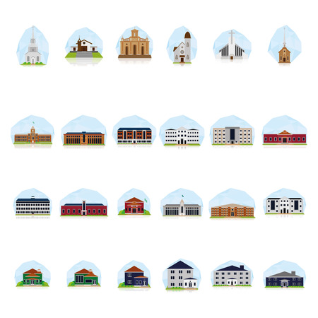 church group: a set of colored buildings on a blue background Illustration