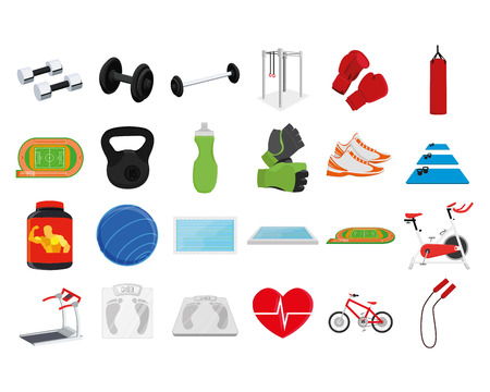 a set of fitness related elements on a white background Vector
