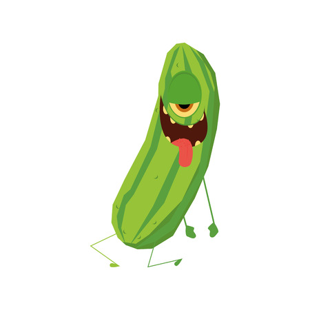 weird: an isolated weird happy cucumber on a white background